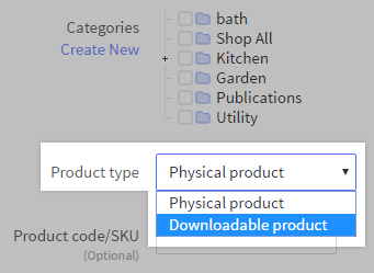 Downloadable products highlighted for Product type