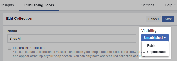 On your Facebook business page, go to Publishing Tools > Shop > Collections to hide entire collections/BigCommerce categories from Facebook