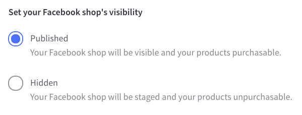 Facebook Shop visibility setting