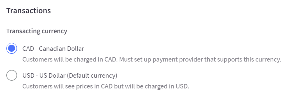 Specify whether this should be a display currency (charges in the stores default currency) or a transactional currency