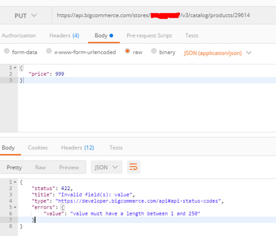 V3 API error, updateproduct stuck on same response